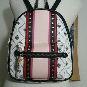 NEW BCBG Rina stripe backpack white black pink